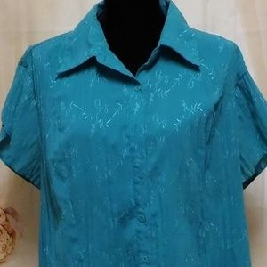 Teal Blouse Top Short Sleeves Button Down 615